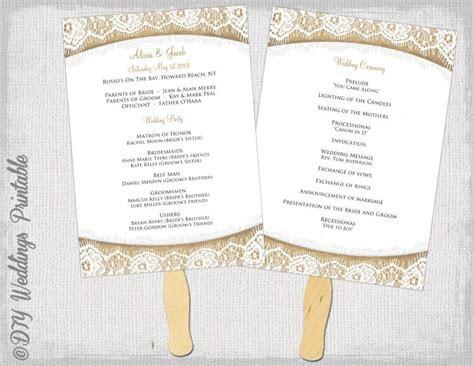wedding program fan template rustic burlap lace diy