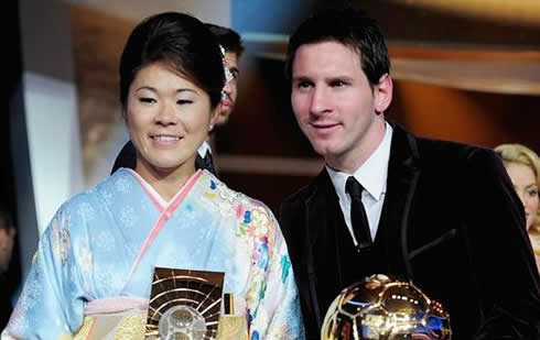 Homare Sawa and Lionel Messi at FIFA Balon d'Or 2011-2012 gala and ceremony