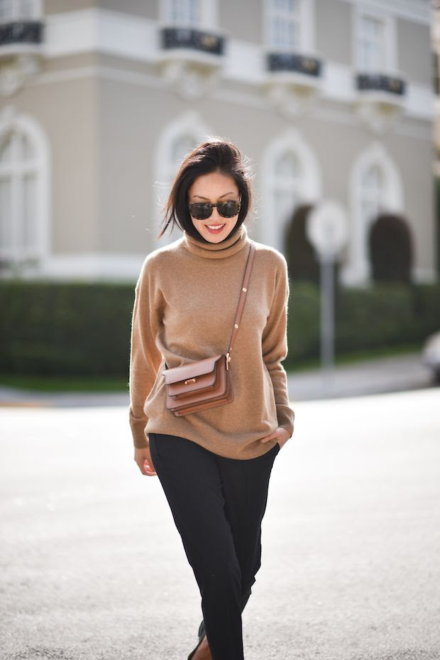 Le Fashion Blog Blogger Anh Fall Cashmere Turtleneck Sweater Tortoise Sunglasses Cropped Trousers Mini Cross Body Bag Via 9 To 5 Chic