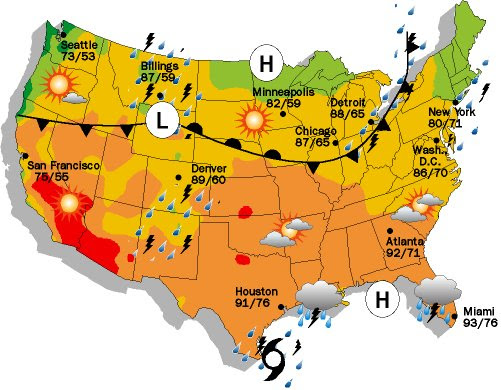 Printable Us Weather Map Us Weather Map April