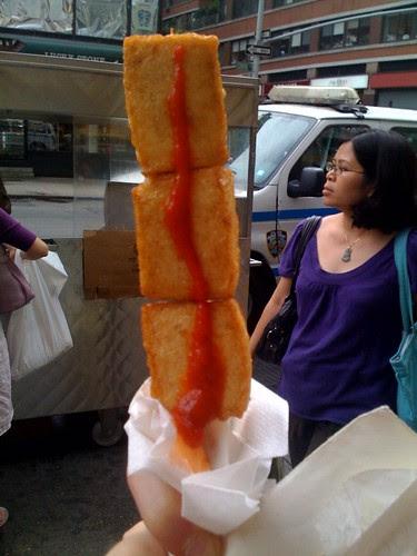 Tofu from a street cart = yum!