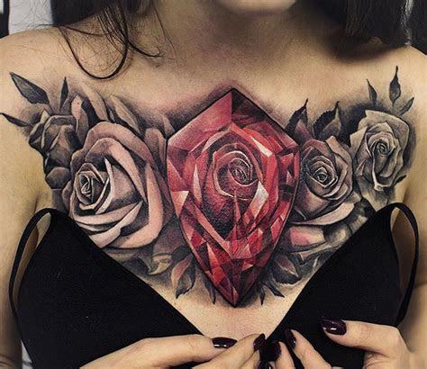 rose diamond floral chest piece tattoo design ideas