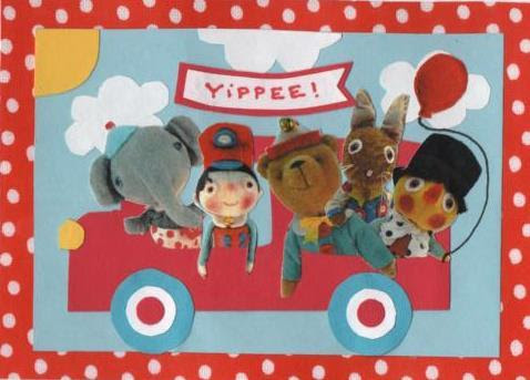 "Hello…Look at this little busload of happy fellows. They appear to be very excited about their field trip…maybe they are playing car bingo or could it be a sing-a-long? Actually I know where they are headed. They are going to ""Scoopy's Freezy Treats"" for some tasty delights.  Have double scoops on a sugary cone fun, Jody"