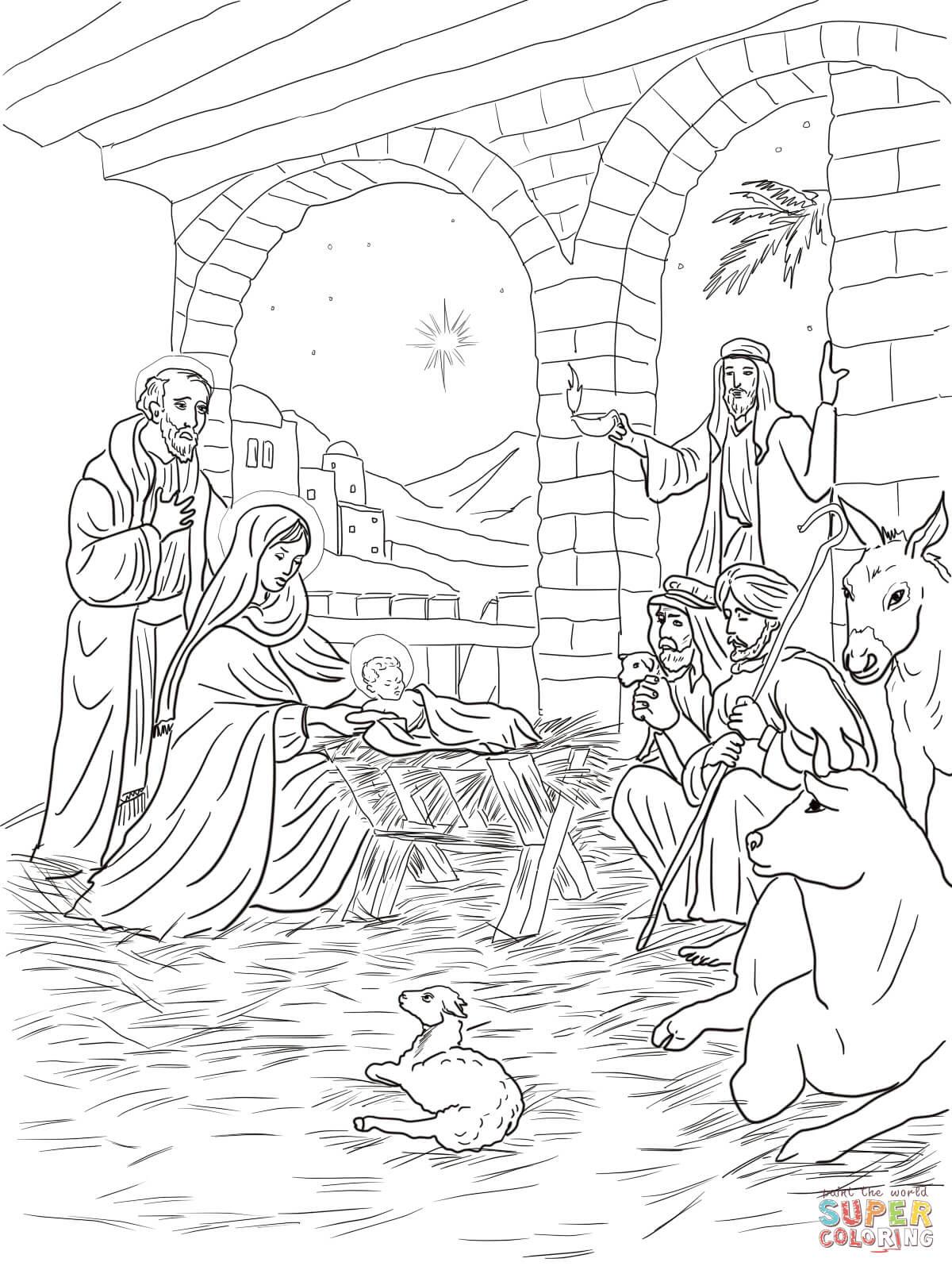 er sur la Les bergers viennent voir l enfant Jésus coloriages