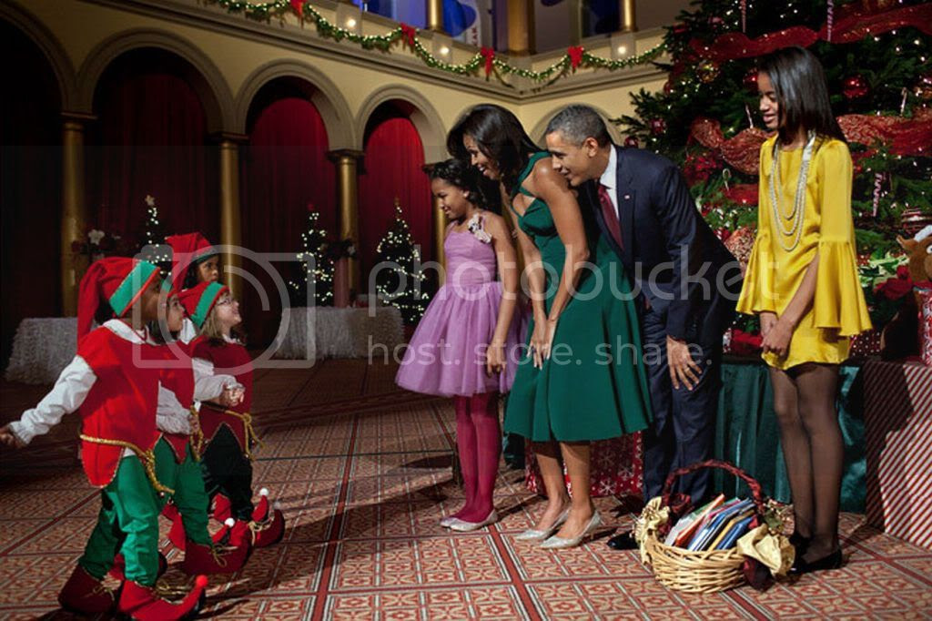The First Family at Christmas time, getting visited by elves