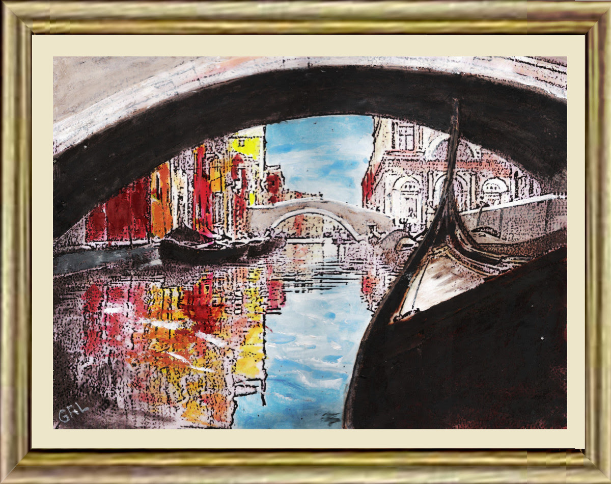 Venice 2b Framed Original Multimedia Painting Fine Art. $13 to $24 small, medium-size, prints. Free downloads, wallpaper, GrlFineArt. Fine art work. These art works are based on my own original black and white photos, taken back in the 1950's.  For fine art decor, fineart, europe, 1950, italy, venice, gondola; photograph, multimedia classical traditional modern acrylic oil painting paintings prints.