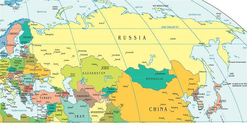 Russia And Eurasian Republics Political Map   Time Zones Map