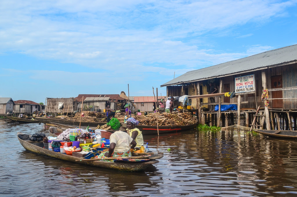 Ganvie fishing village on stilts in Benin