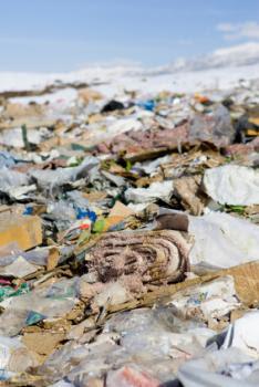 trash in landfill