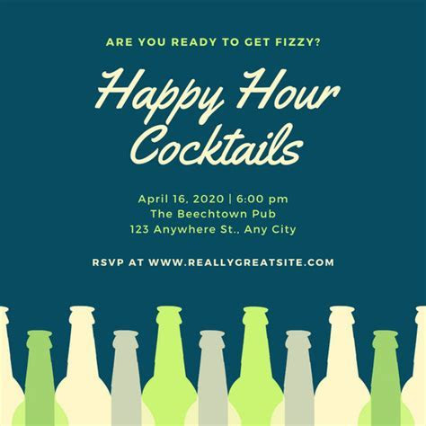 Customize 71  Happy Hour Invitation templates online   Canva