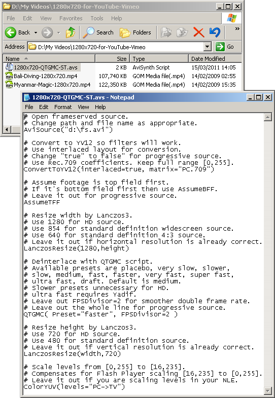AviSynth script for QTGMC