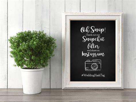 Customized Chalkboard Snapchat Filter Sign  Wedding Sign