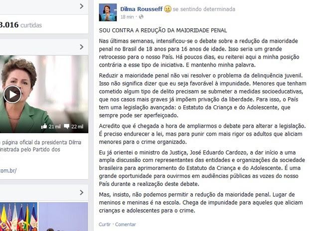 Presidente postou no facebook texto contra a redução da maioridade penal (Foto: Reprodução/Facebook)