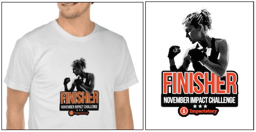 """Screencap of the """"Finisher"""" t-shirt, showing a boxer in silhouette with the  words """"Finisher: November Impact Challenge"""" on it."""