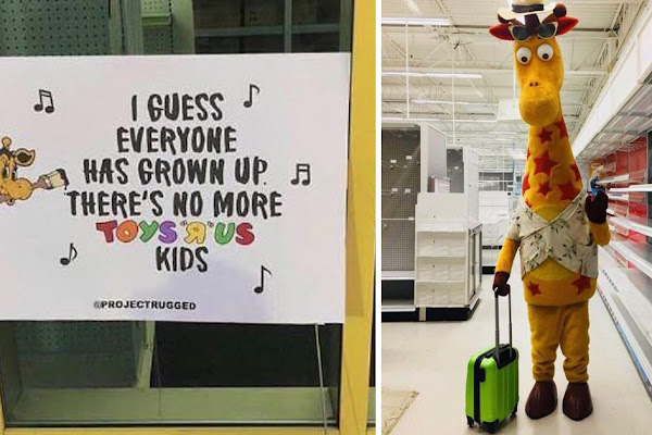 4413edd91 Toys R Us giraffe leaving store for the last time is incredibly depressing