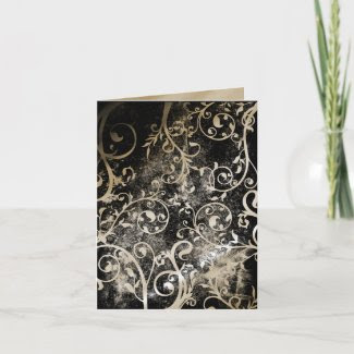 Distressed Damask Gothic Grunge Wedding RSVP card