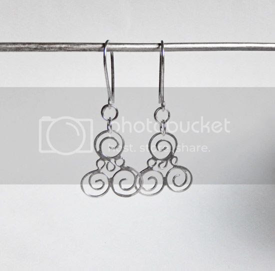 silver curl earrings - silver moss designs