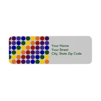 Rainbow Polka Dots on Grey return address label