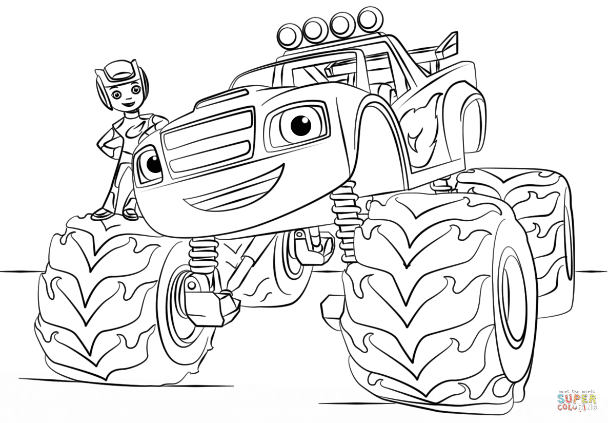 er sur la Blaze Monster Truck coloriages