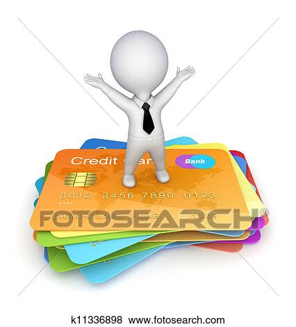 Stock Illustration  3d, klein, person, auf, a, kredit, karten. k11336898  Suche Clip Art