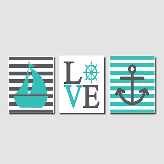 Love Captains Wheel Anchor Nautical Wall Art Sailboat