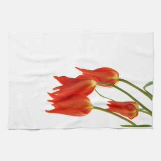 Red tulips kitchen tea towel