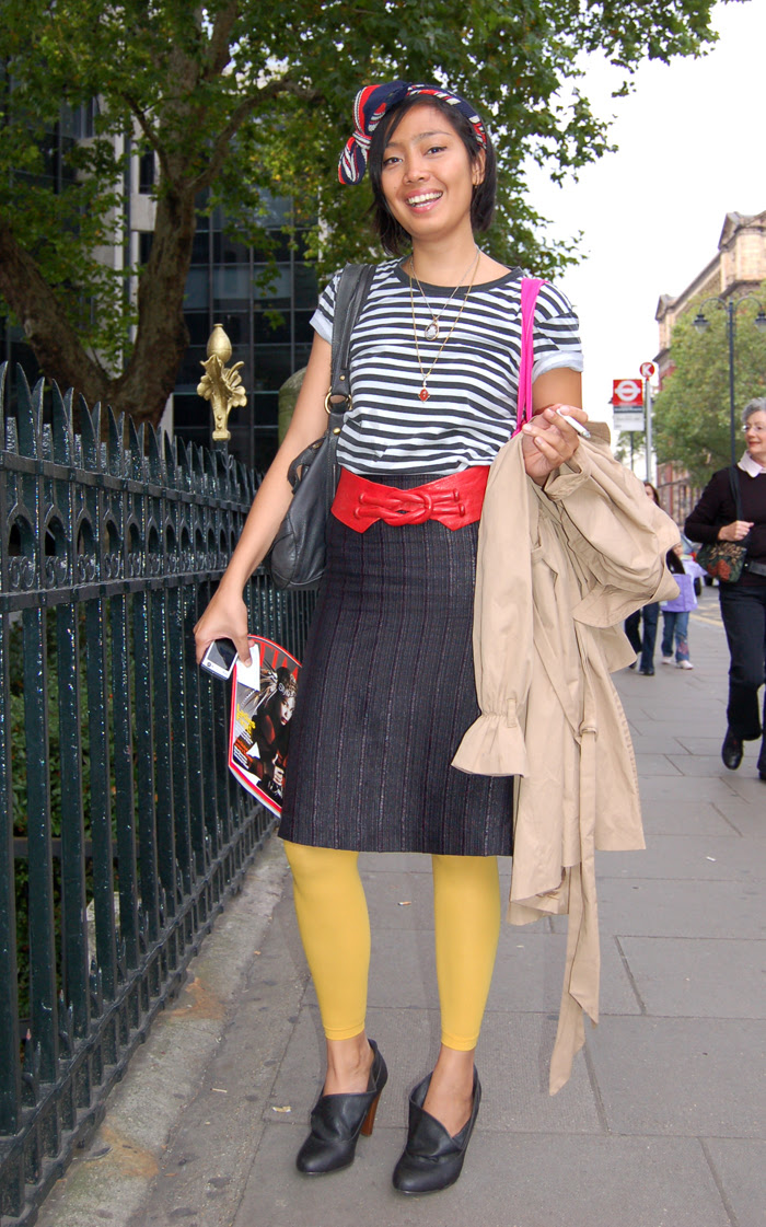 stripey top and red belt