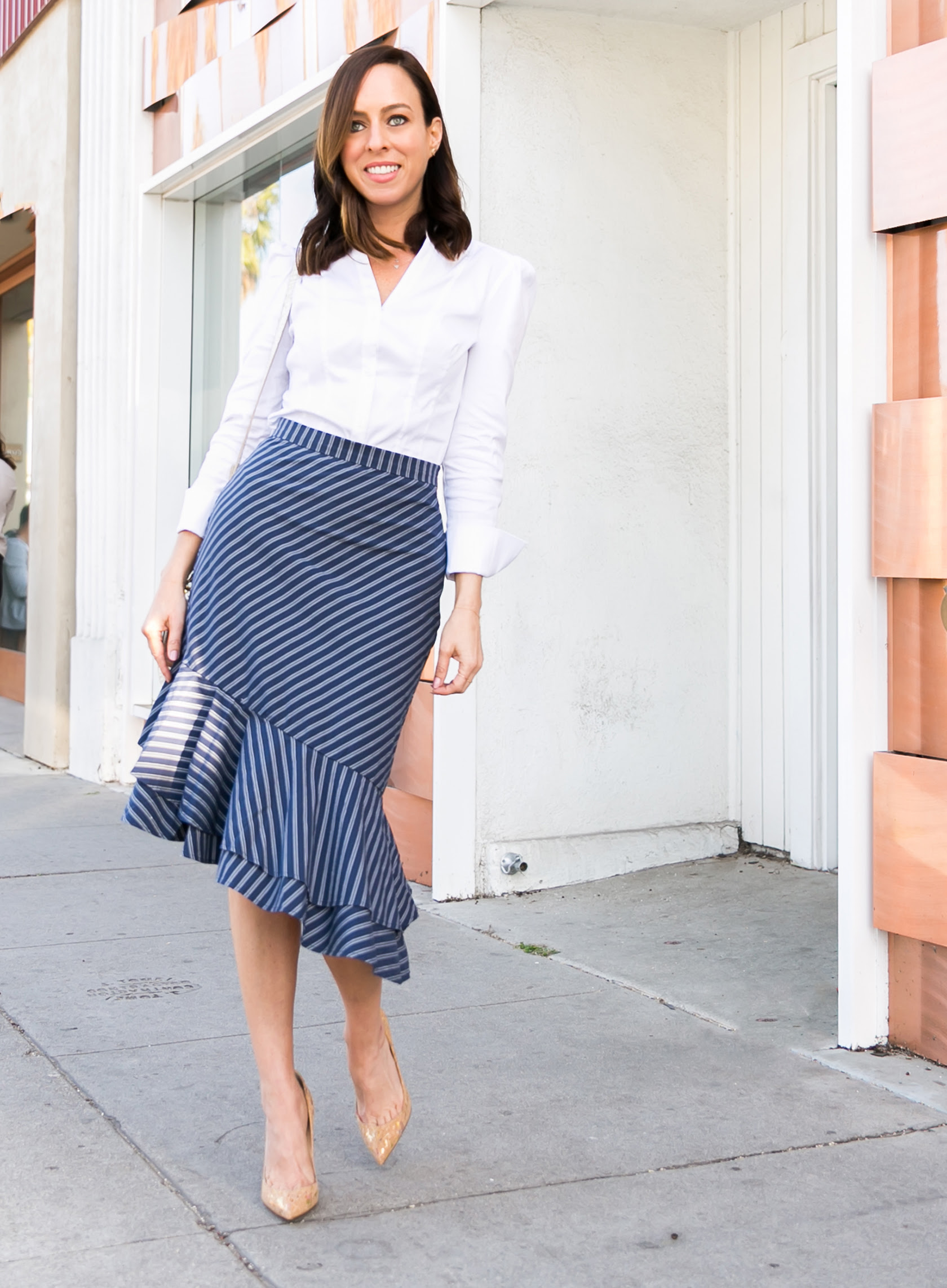 striped pencil skirt  2018 work day to weekend fashion