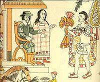 Lámina del Lienzo de Tlaxcala.Malintzin sirvió de intérprete a Hernán Cortés ante los indígenas, ya que hablaba maya y náhuatl.