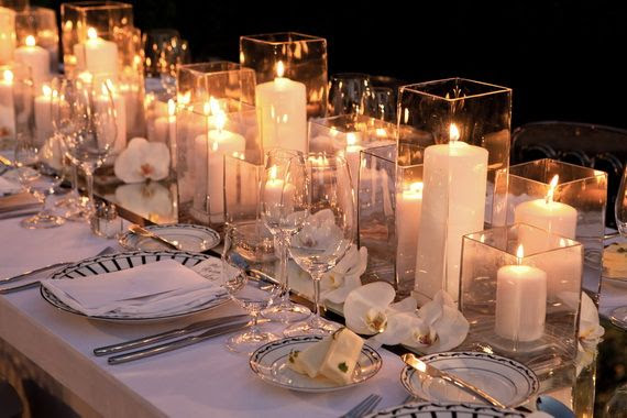 flower and candle wedding centerpiece
