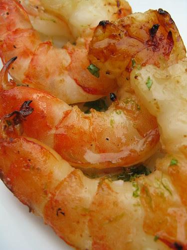 Grilled Shrimp in a Honey, Lime & Mint Glaze