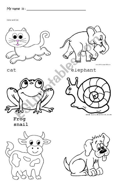 animals trace  color esl worksheet  karendiana