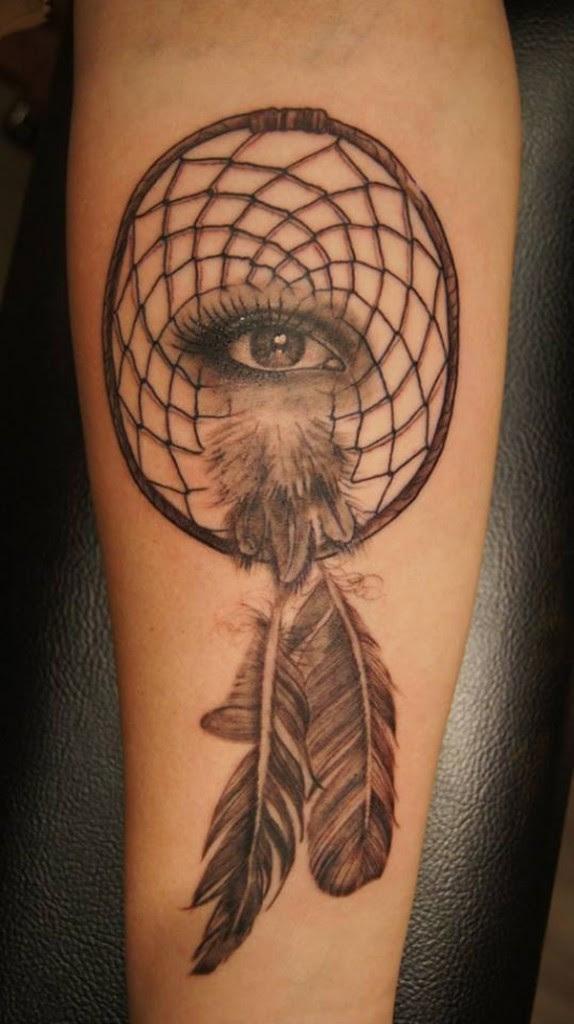 Amazing Grey Ink Dreamcatcher Tattoo On Forearm