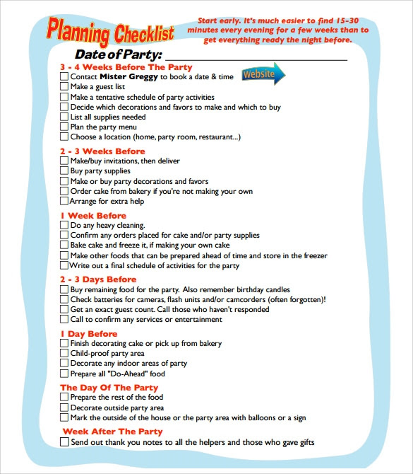 Birthday Party Planning Template