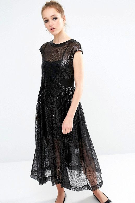 Le Fashion Blog Summer Style Sheer Cap Sleeve Black Sequin Smock Dress Flats Via ASOS