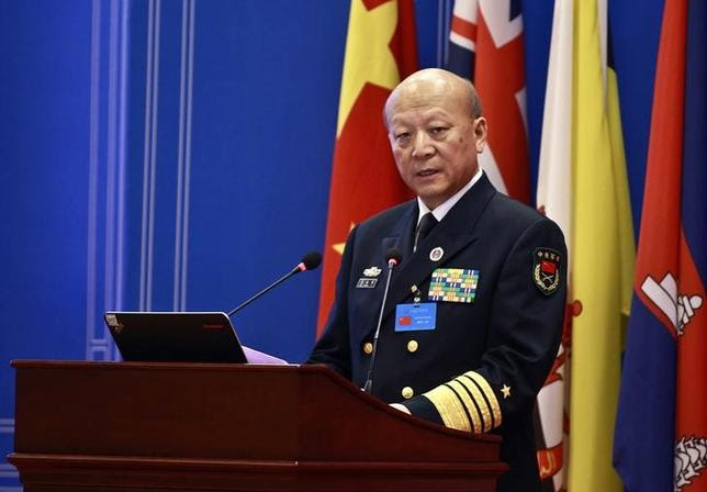 Wu Shengli, China's commander-in-chief of the People's Liberation Army Navy, speaks during an opening session of the Western Pacific Naval Symposium in Qingdao, Shandong province April 22, 2014. REUTERS/China Daily/Files