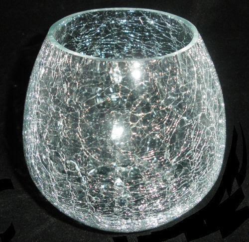 Crackle Glass Candle Holder | eBay