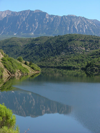 The Raggeds reflect in Paonia Reservoir