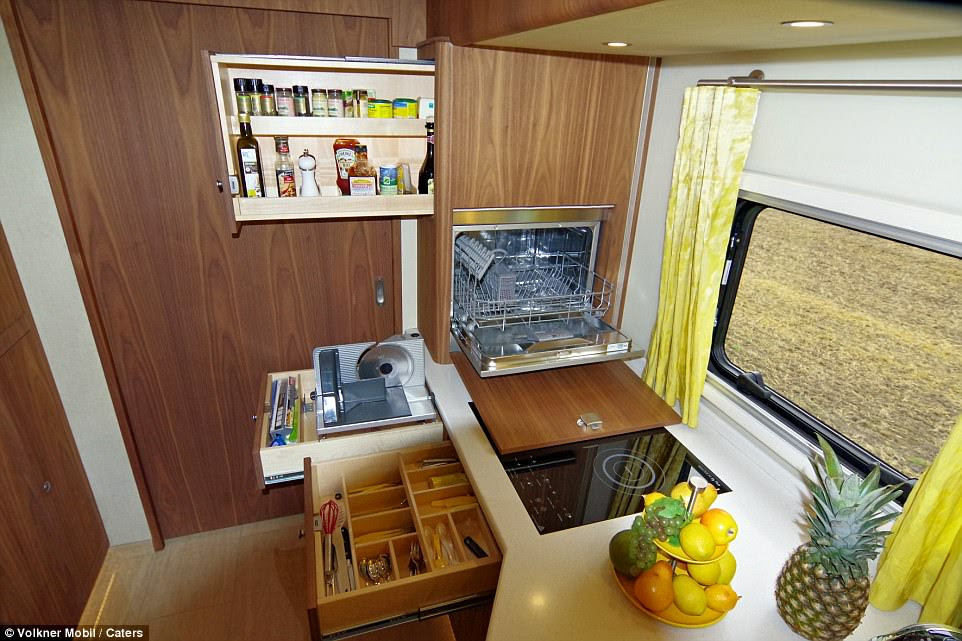 Customers can choose from a range of fixtures and fittings to customise their bus - from high-quality leather seats to real wood units and stone tiles in the kitchen and bathroom