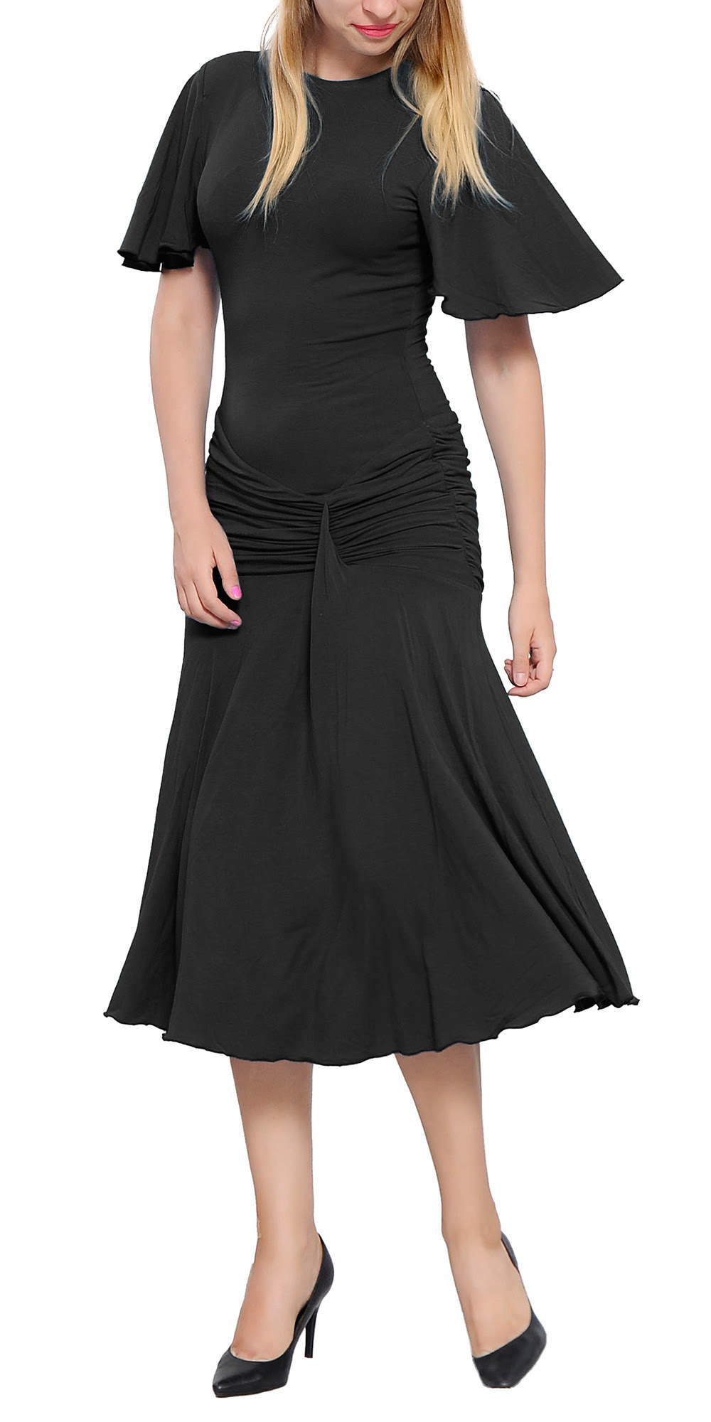 womens drop waist midi dress elegant lady vintage retro