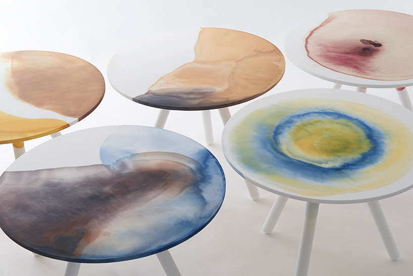 takt project utilizes natural dyes in bespoke plastic table collection