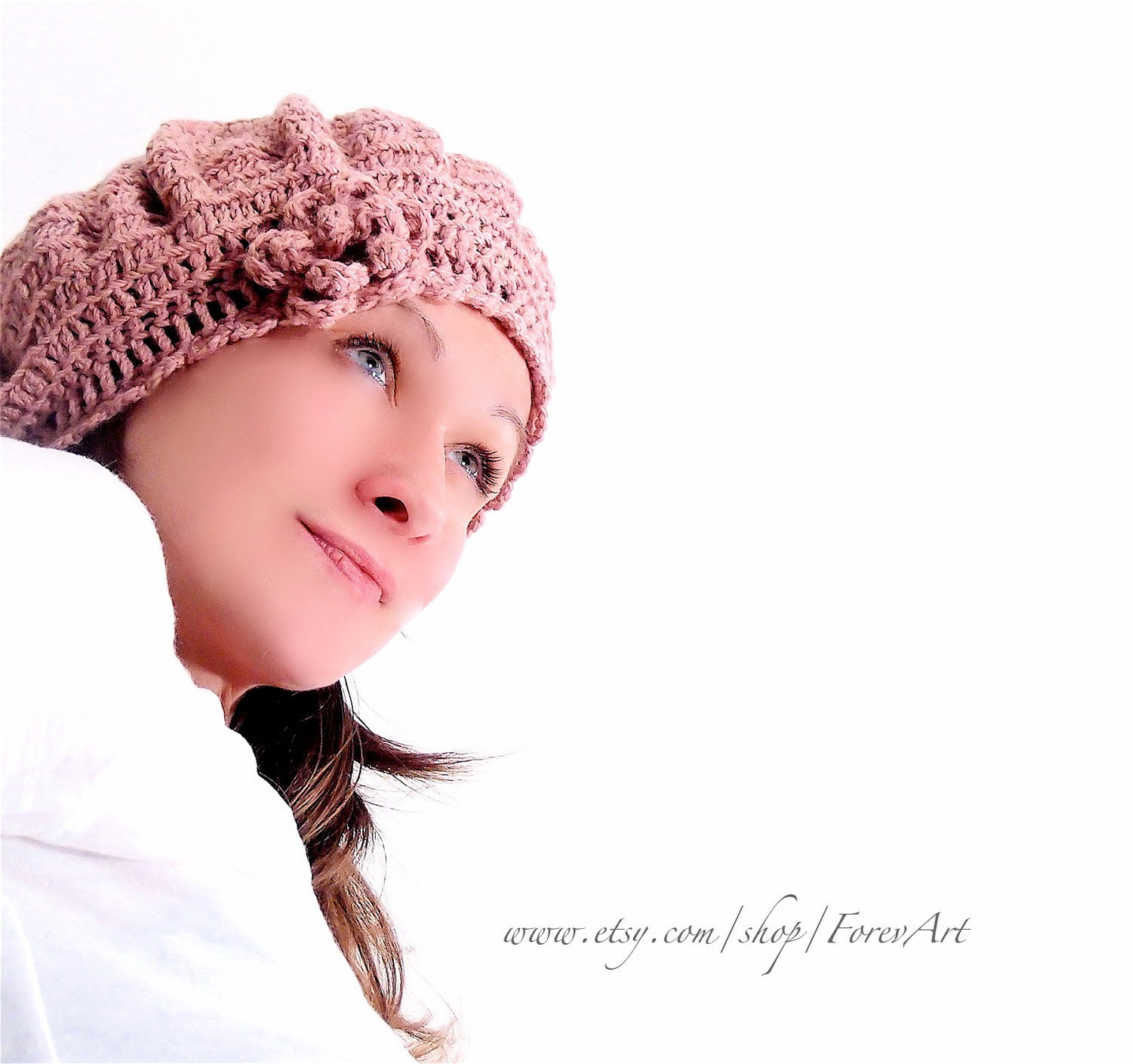 Crocheted cap hat with crocheted flower. Wool crocheted barret. - ForevArt