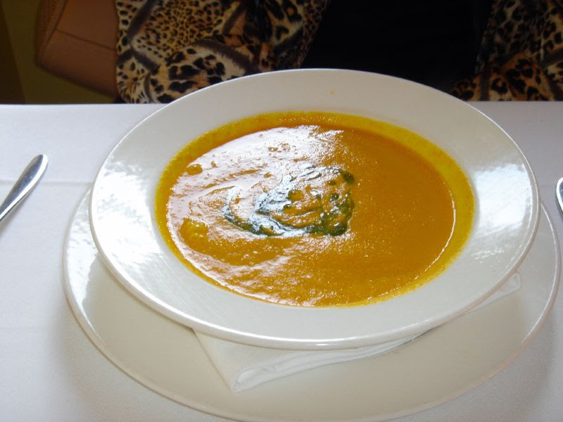 Roasted carrot soup with chive oil