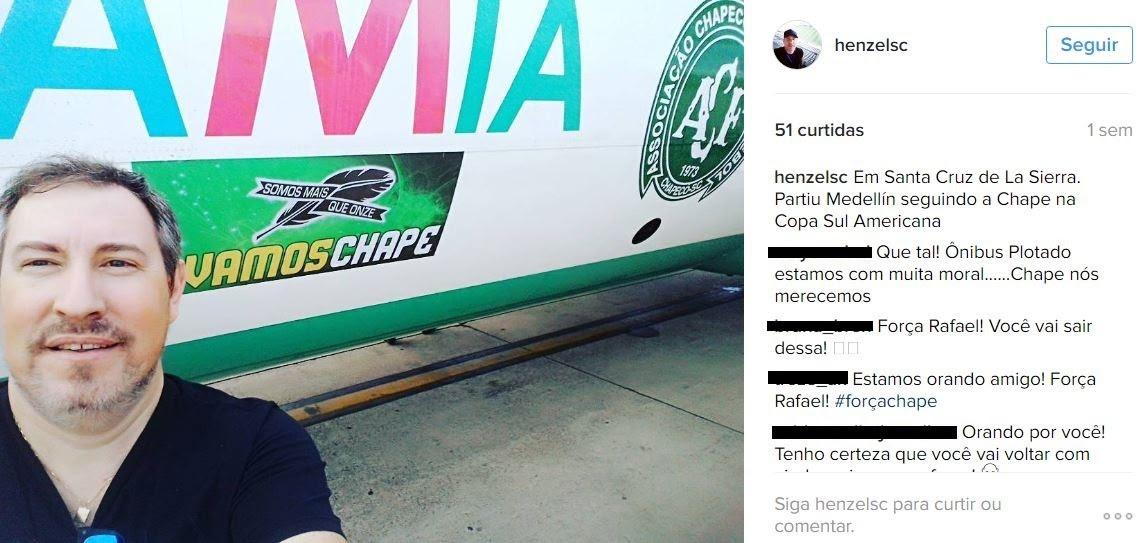 No Instragram, Henzel publicou foto no dia 28 de novembro com avião que caiu com delegação da Chapecoense (Foto: Reprodução/Instragram)