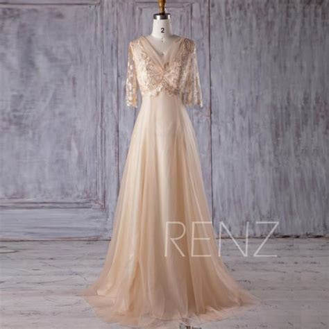 2017 Beige Tulle Bridesmaid Dress, V Neck Lace Wedding