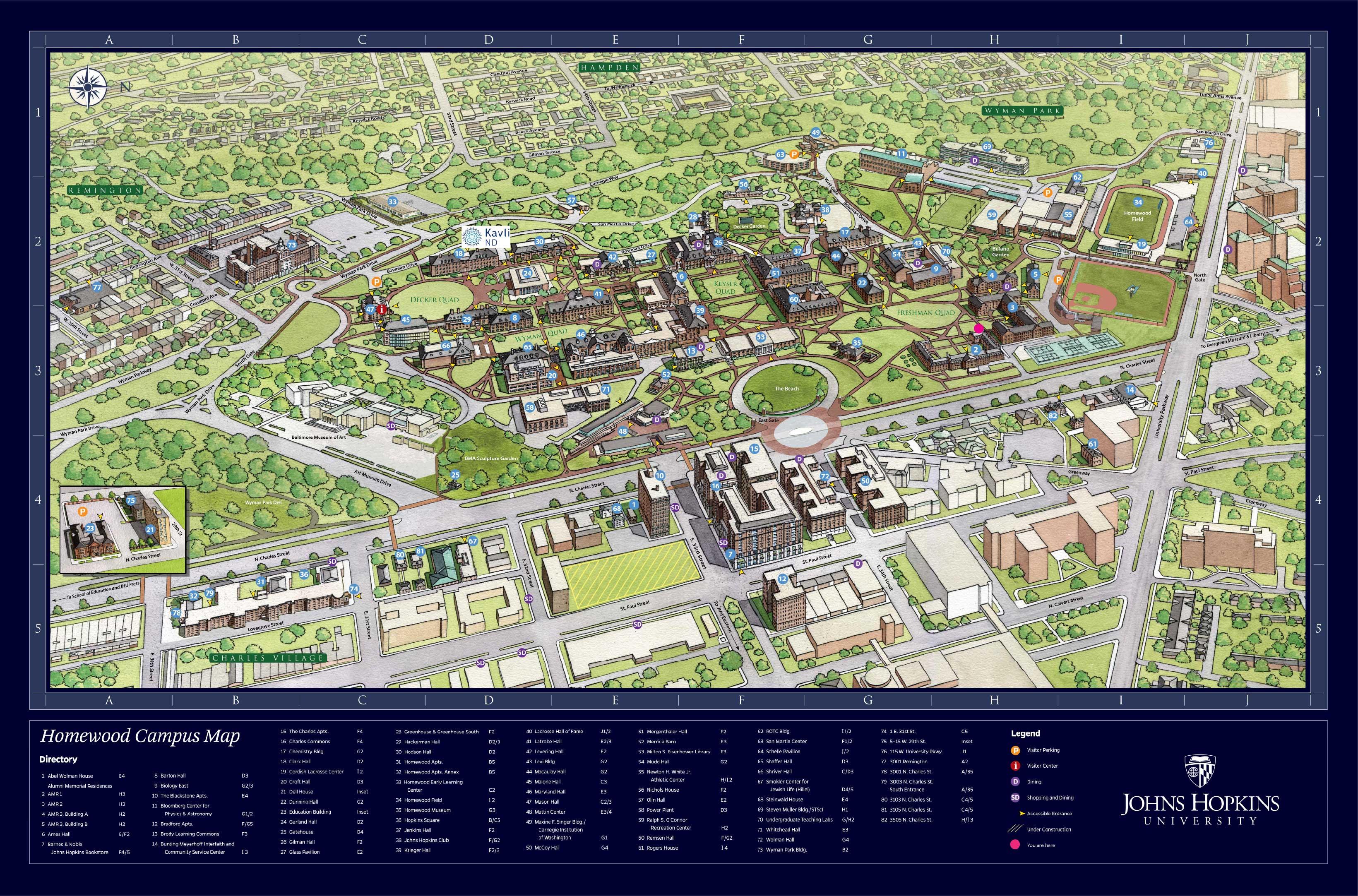 Johns Hopkins Homewood Campus Map Jhu Campus Map | States Maps