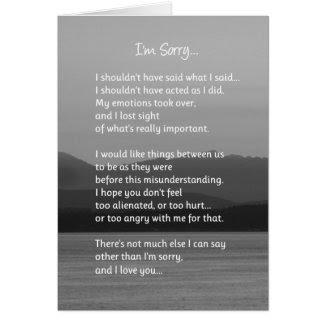 I'm Sorry...Relationships Cards
