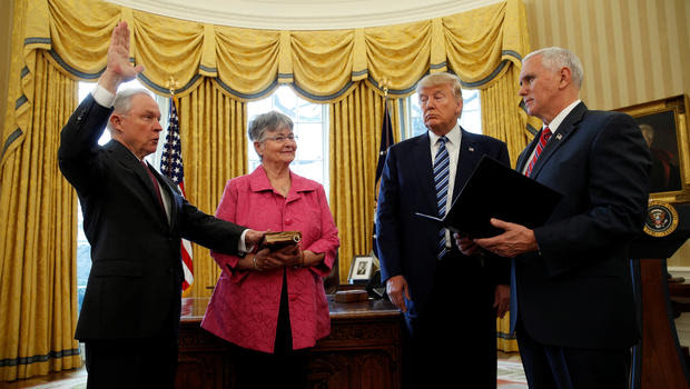 Image result for attorney general Jeff Sessions being sworn in