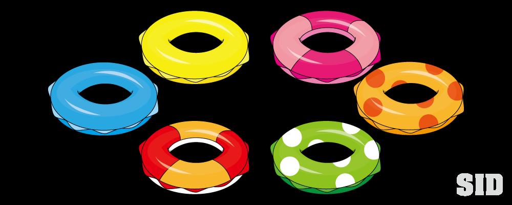 海水浴には必須のアイテム様々な柄の浮き輪のイラスト 無料配布