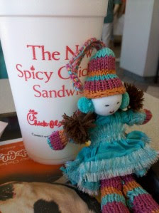 doll with Chick-fil-a lemonade